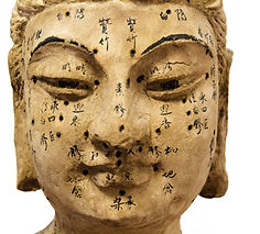 Ancient wooden female face showing acupu