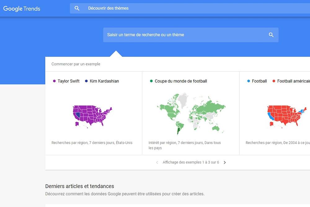 Google Trends recherche de tendance