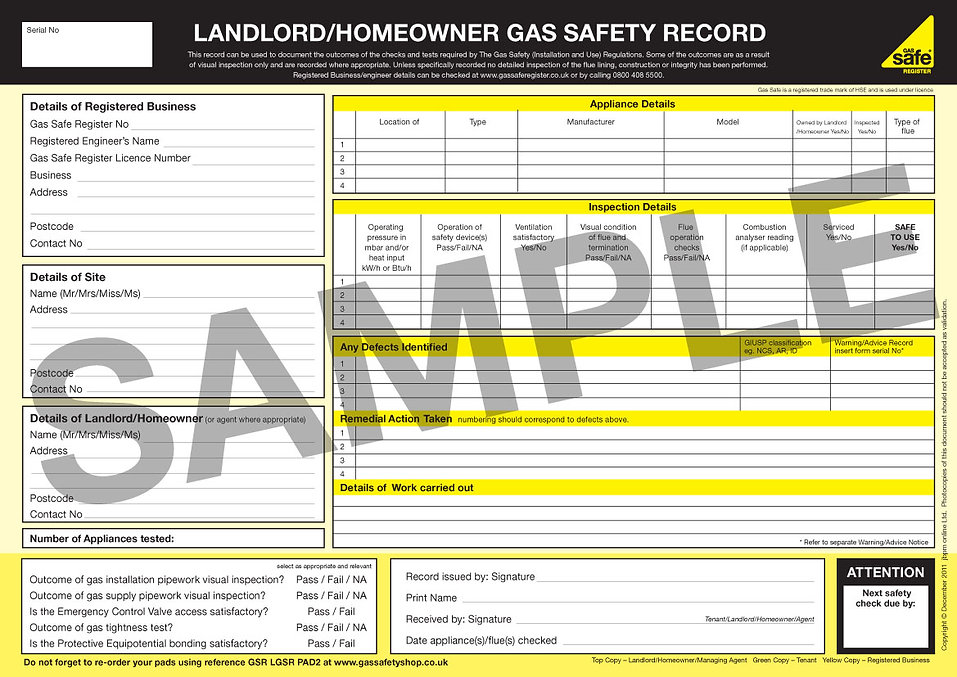 gas safety certificate - London's Electrical Services Ltd