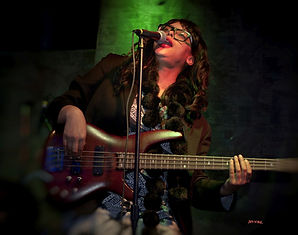 bass guitar, singer, female, blues, red lips