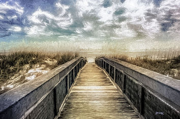board walk, ocean, sea oats, clouds, ocean
