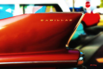 Cadillac, fins, auto, car, red,