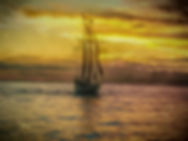 sails, ship, sunset, ocean, clouds