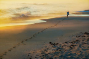 sunset, beach, girl walking, footprints