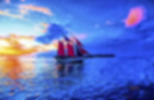 sunset, ocean, clouds, sail boat, blue sky, sails