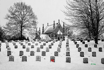 cemetary, headstone, church, snow, winter, Crown Hill