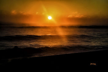 ocean, waves, orange, sunrise, Melbourne, Florida