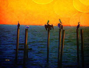 pelican, ocean, ocean piers, multiple suns, yellow