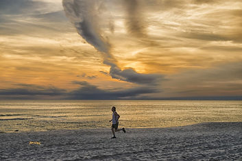 clouds, running, jogging,  beach, ocean, sunset