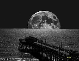 night sky, full moon, ocean, boardwalk, b&w