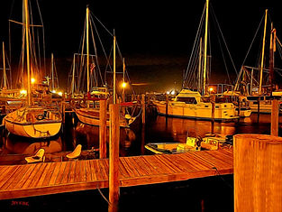 night, eveningc boat marina, boardwalk, Ft Meyers