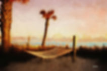 Palm tree,  ocean beach, hammock