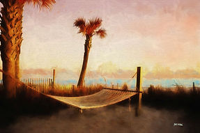 palm tree, hammock, beach, sunet