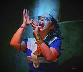 spotlight, singer, female, singing, hands