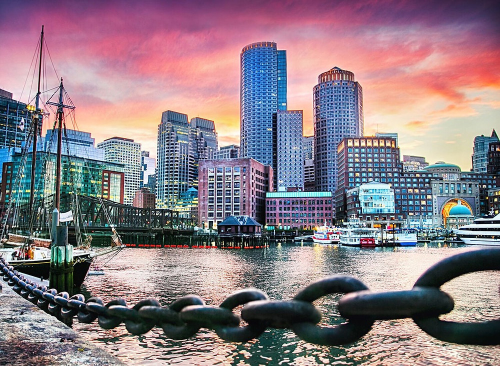 view of boston with skyline