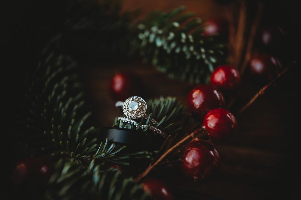 wedding ring around red cherry