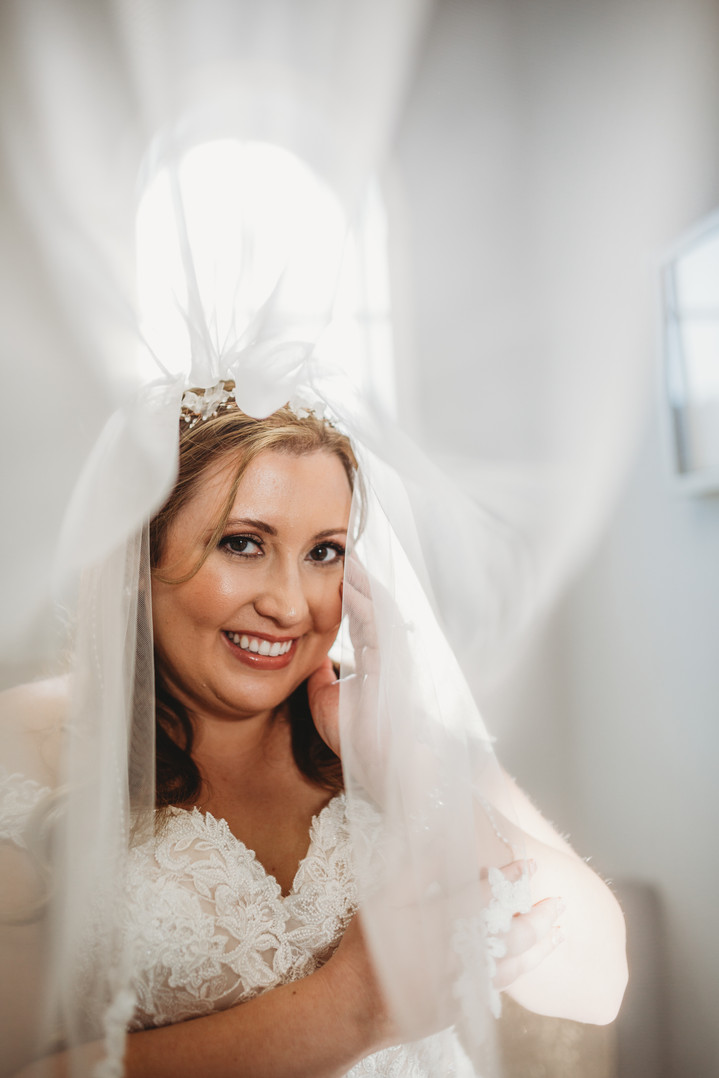wedding day picture under the veil