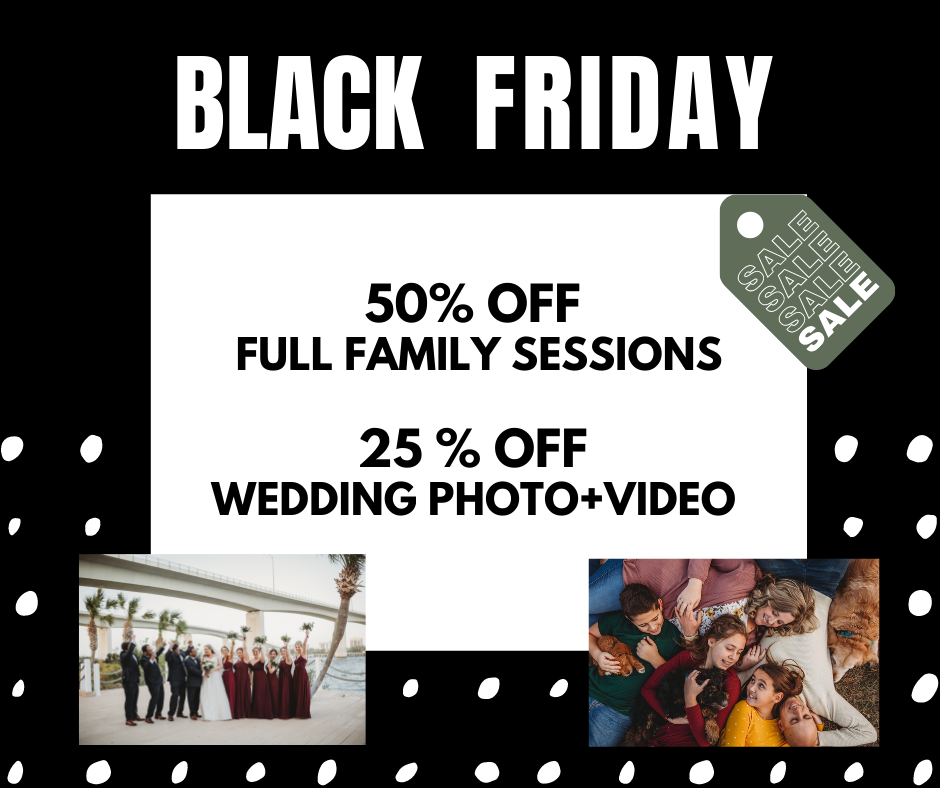 black friday family session and wedding deals