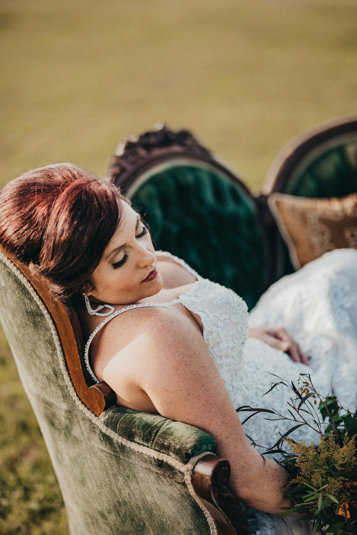 bride photo on a chair