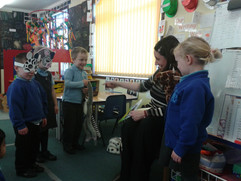 Acting out a scene from 'The Black and White Club' at Brookland Nursery in Cheshunt