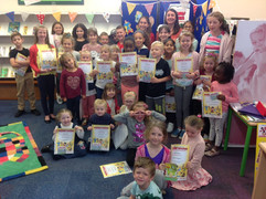 At Goff's Oak Library, presenting Summer Reading Challenge certificates