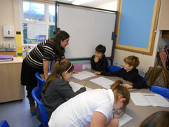 At Milwards school, Harlow, Discussing storyboards with Year 5