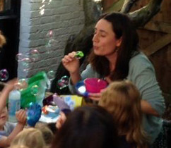 Blowing bubbles at Leaf Cafe
