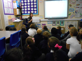 At Milward's School, Harlow, chatting to Year 5 about the  development of my picture books