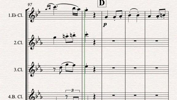 Beethoven: Symphony 7 Mvt.III Allegretto - standard clarinet quartet
