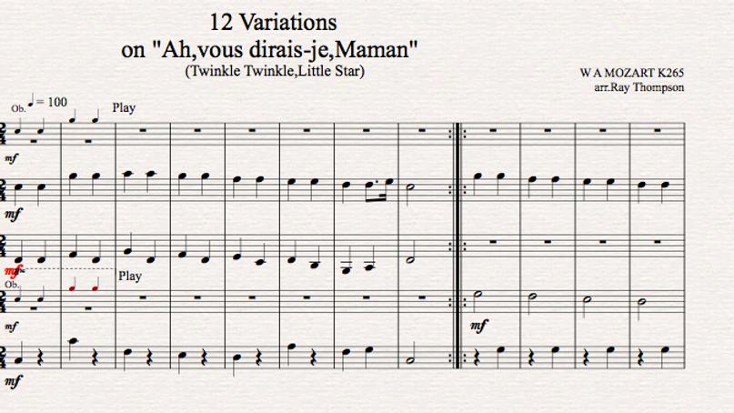 Mozart: Ah vous dirais-je,Maman (Twinkle, Twinkle), Little Star - wind quintet