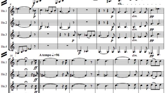 """3 """"Romantic"""" Hunting Songs for horn quartet"""