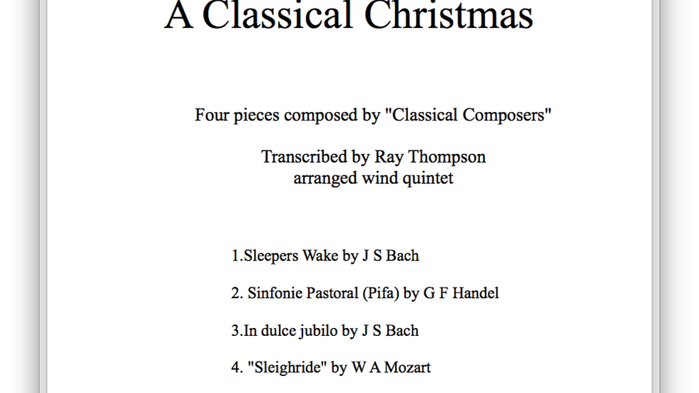 A Classical Christmas: 4 Classical Christmas pieces - wind quintet