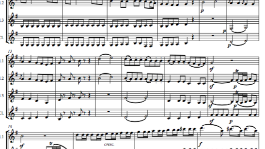 """Mozart: Serenade No.13 in G """"Eine Kleine Nachtmusik"""" K.525 Mvt.I - clt. quartet"""