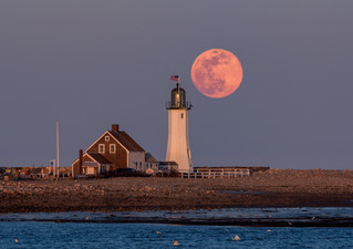 Full Moon over Lighthouse - Scituate, MA
