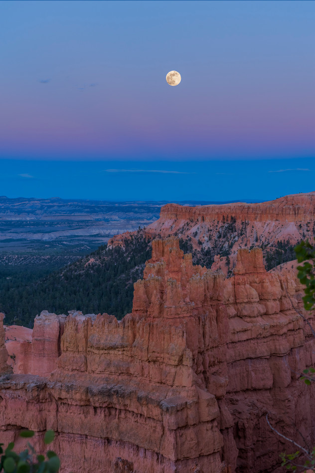 Full moon rising Bryce Canyon Nat'l Park, UT