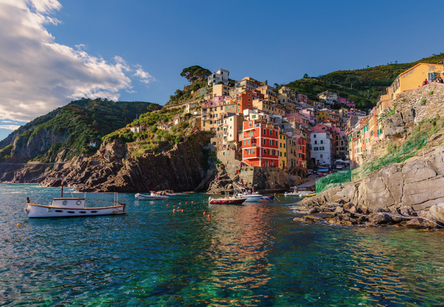 Riomaggiore from the sea - Cinque Terre, IT