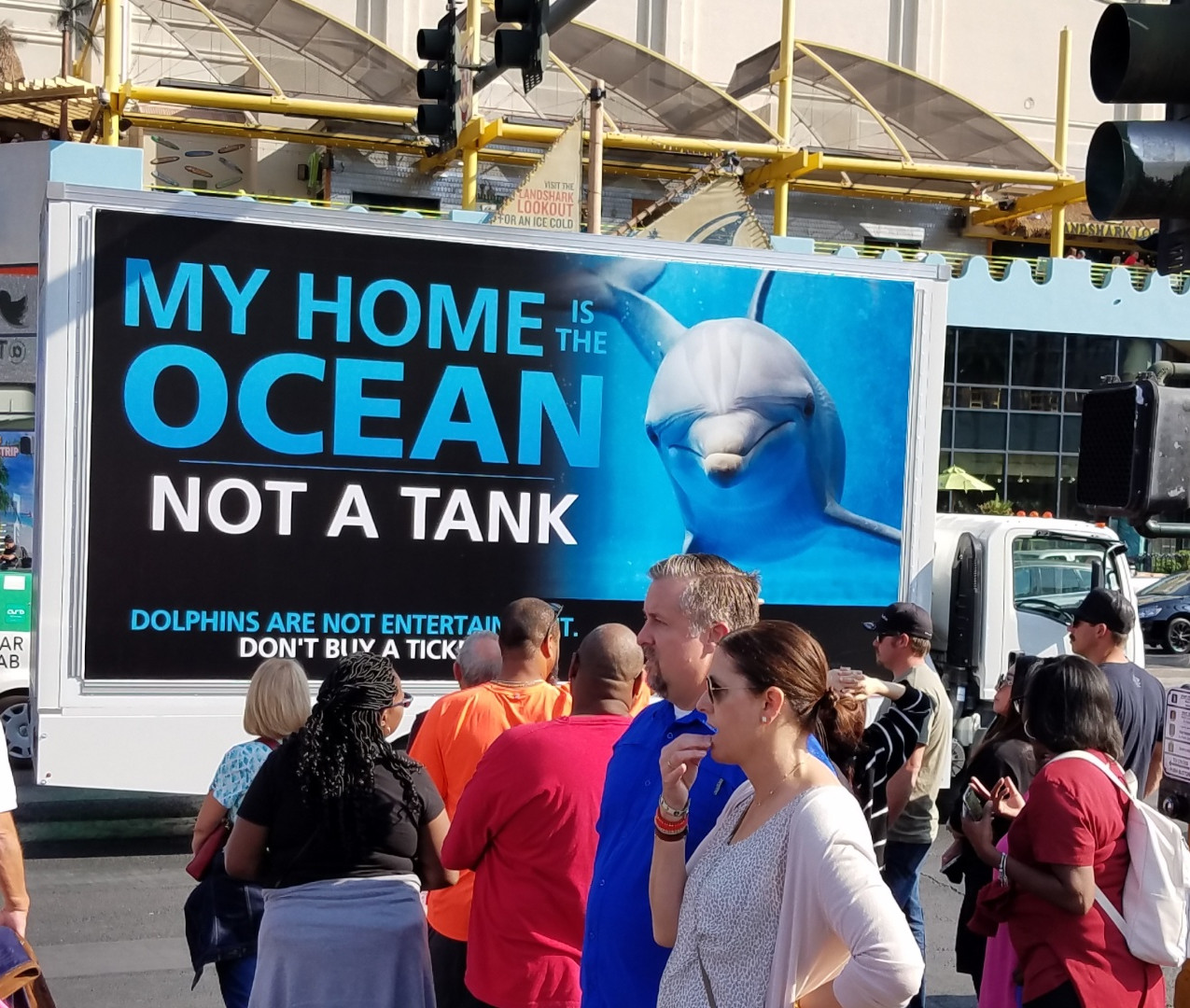 Mobile billboard on the Vegas Strip