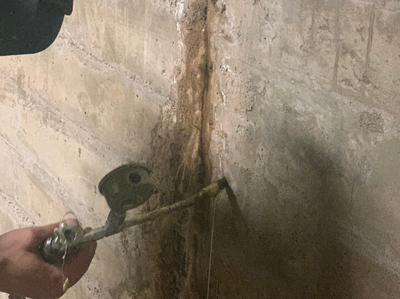 Installation of Avanti microfoam concrete crack injection waterproofing