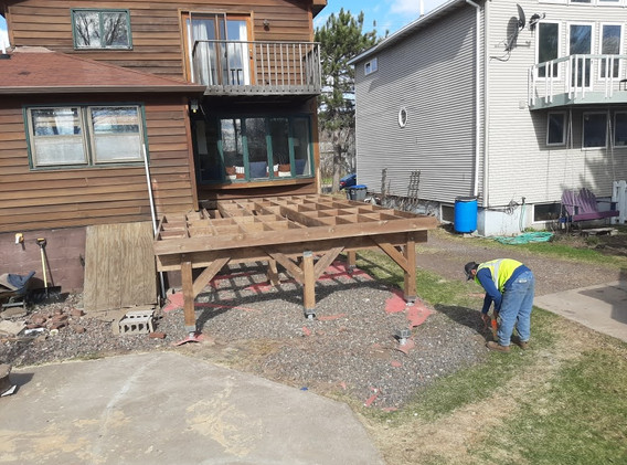 Helical Pier Install for a new deck