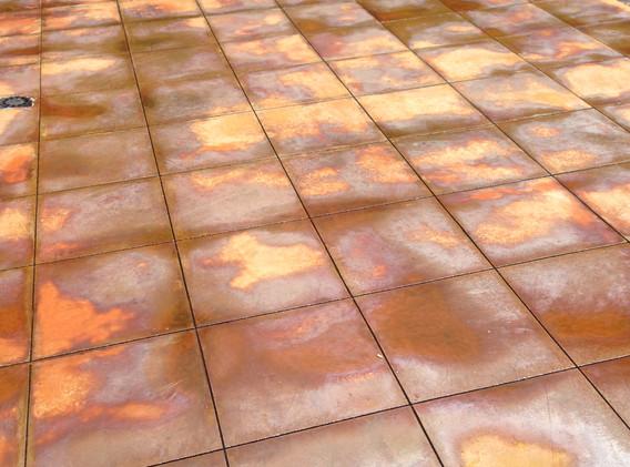 Faux-tile poured cement