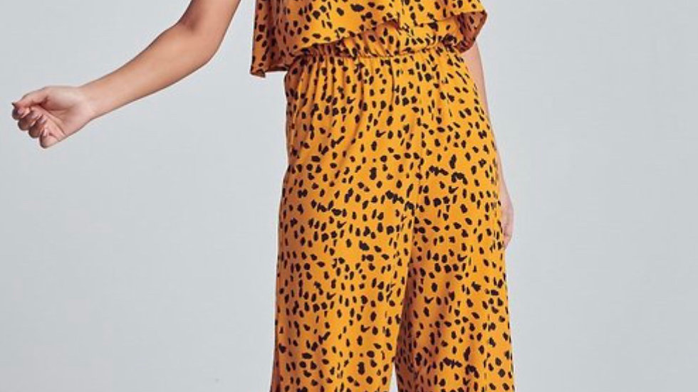 Animal Print Side Slit Jumpsuit