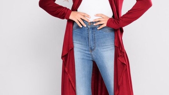 Red Wine Long Sleeve Duster