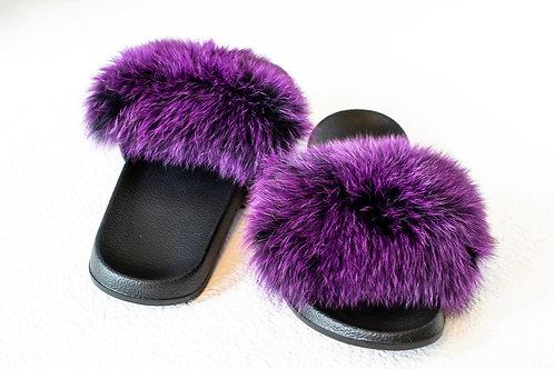 Purple Fox Fur Slides
