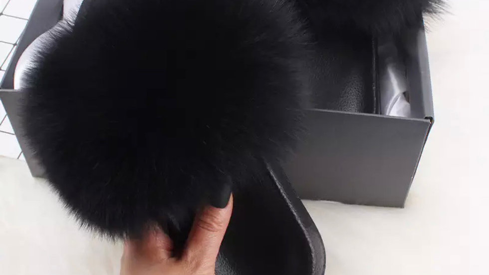Black Fox Fur Slides
