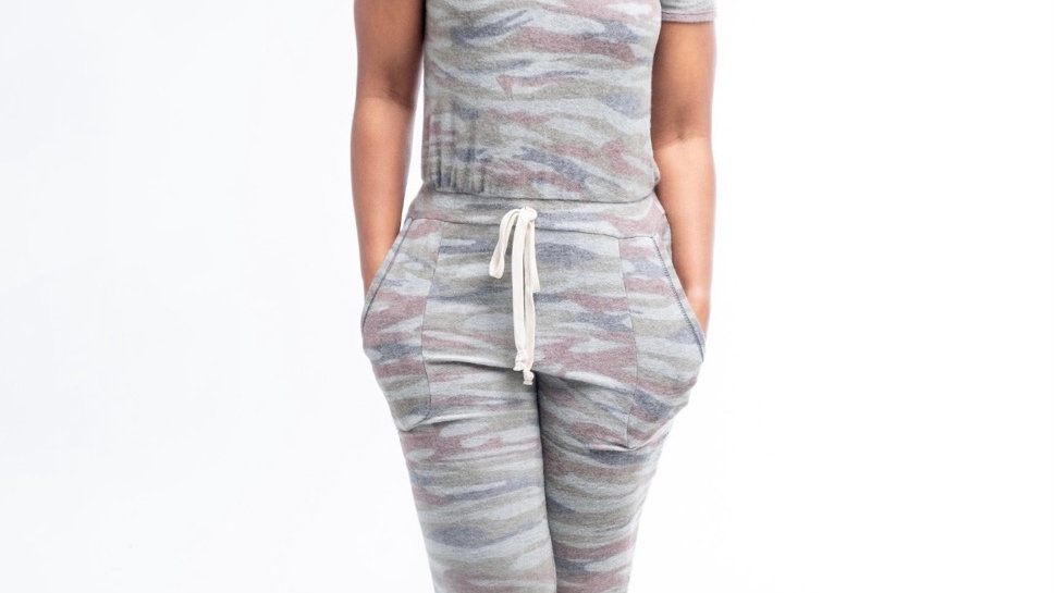 Fleece Camo Jumpsuit w/ drawstring waist