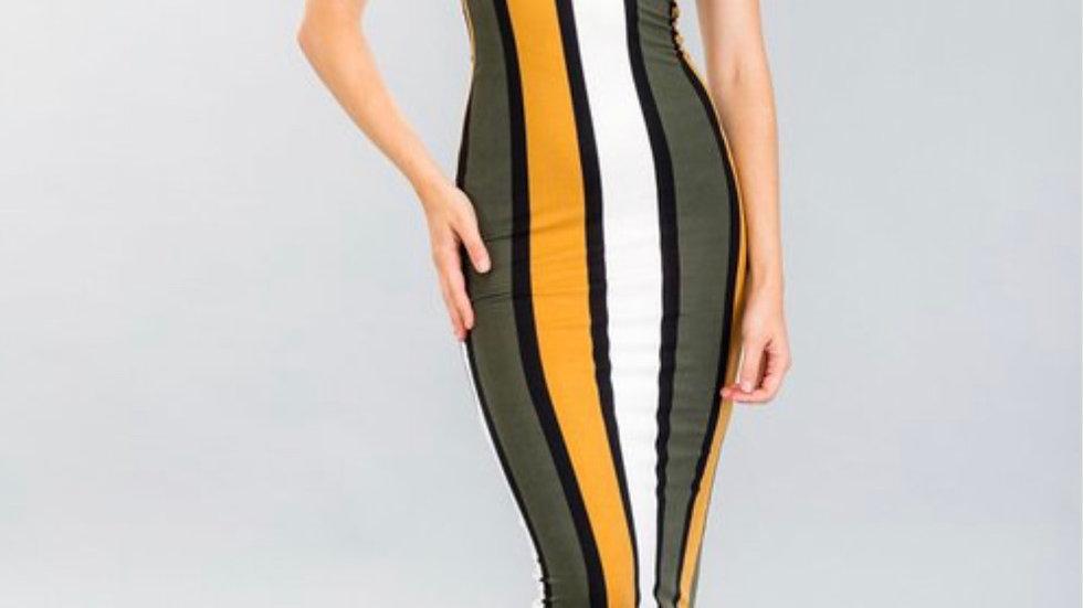 Mustard and Stripes Body Con Dress
