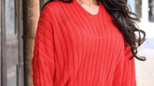 Red Crochet Crop Sweater