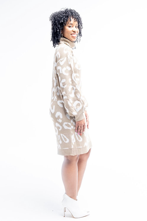Tan Animal Print Sweater Dress