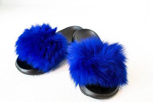 Royal Blue Fur Slides