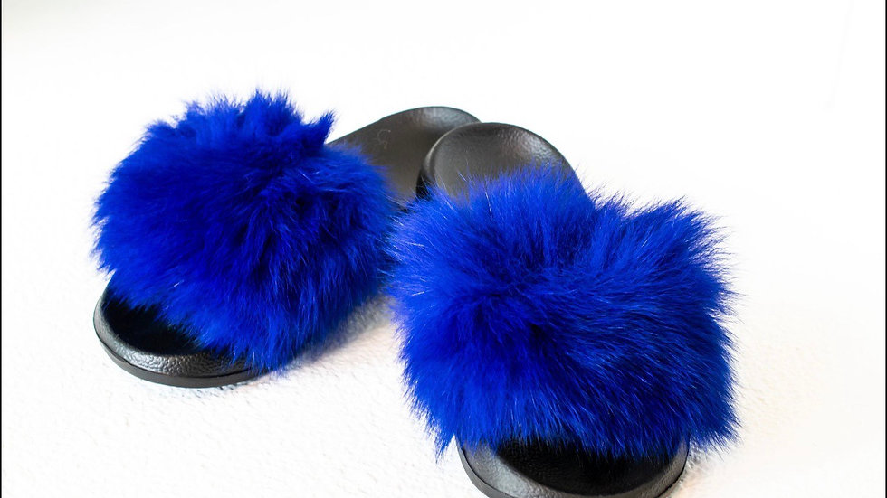 Royal Blue Fur Slides